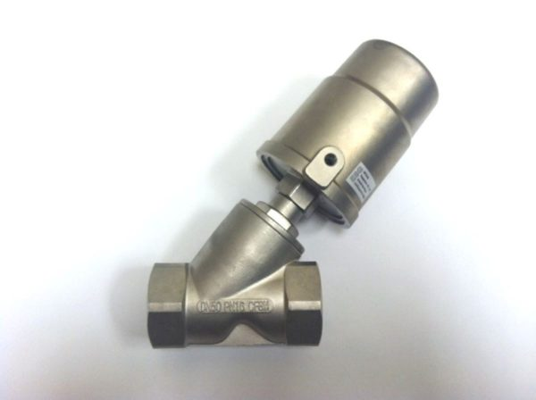 Image of NP-999-JF90S150YN 2 Pneumatic Angle Seat Valve Steam 316 SS NPT sold by RW Martin
