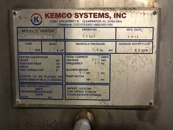 Image of UM-8371 Kemco Direct Contact Gas Heated Water Heater Model L sold by RW Martin